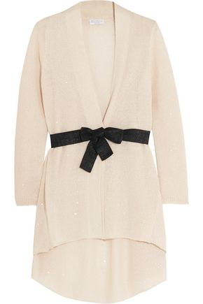 BRUNELLO CUCINELLI Belted sequined linen and silk-blend knitted cardigan