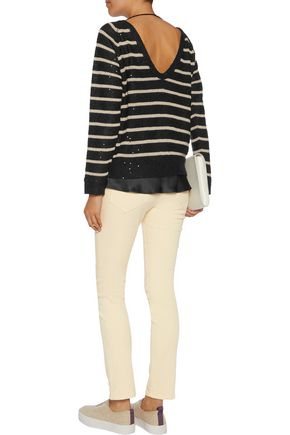 BRUNELLO CUCINELLI Striped sequined linen and silk-blend sweater