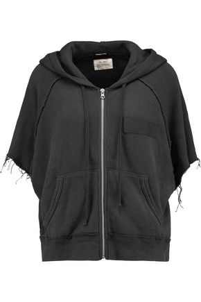 R13 Frayed cotton-blend hooded top