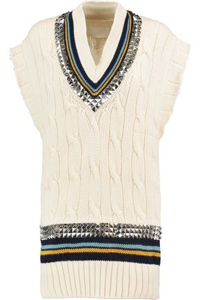MAISON MARGIELA Stud-embellished cable-knit wool sweater
