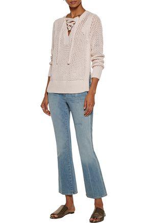 10 CROSBY DEREK LAM Lace-up open-knit cotton sweater