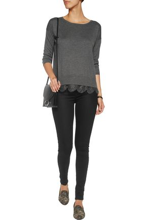 JOIE Hilano lace-trimmed knitted sweater
