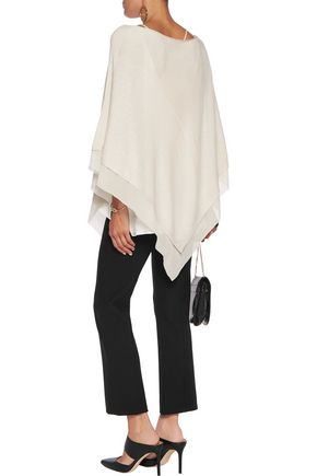 HALSTON HERITAGE Tulle-trimmed stretch-knit poncho