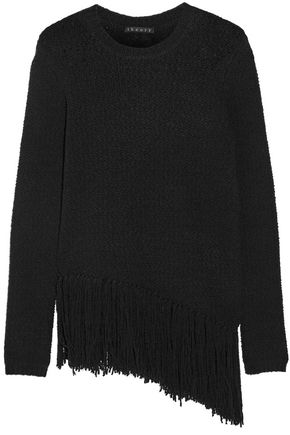 THEORY Hudina fringed stretch merino wool-blend sweater