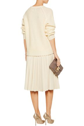 MADELEINE THOMPSON Olive open-knit cashmere and wool-blend sweater