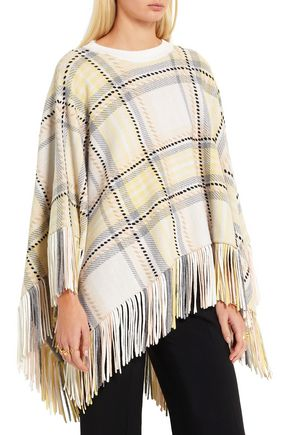 CHLOÉ Fringed wool and cashmere-blend poncho