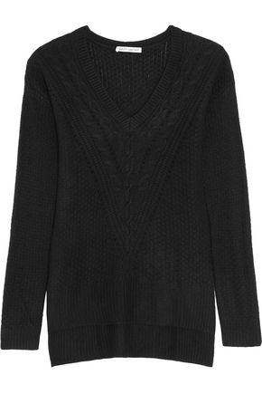 AUTUMN CASHMERE Pointelle-trimmed knitted sweater
