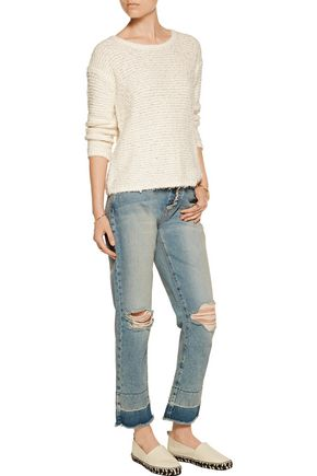 JOIE Anias textured-knit cotton-blend sweater