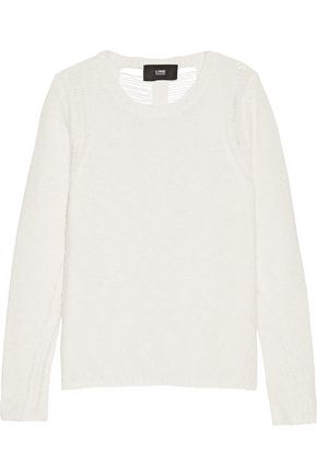 LINE Gavin laddered cotton and linen-blend sweater