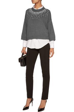 MICHAEL MICHAEL KORS Crystal-embellished cotton-blend sweater
