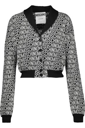 MOSCHINO Cropped wool-jacquard cardigan
