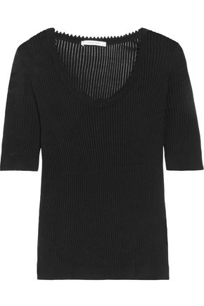 CARVEN Ribbed cotton and silk-blend T-shirt