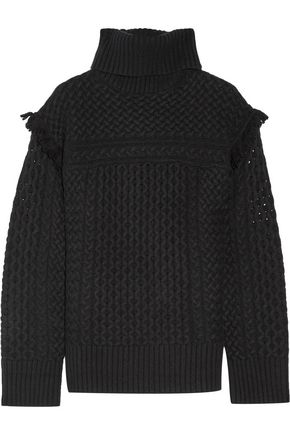 RACHEL ZOE Aribella fringed cable-knit wool and cashmere-blend turtleneck sweater
