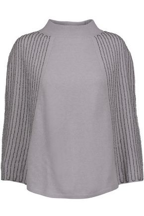 HALSTON HERITAGE Beaded wool and cashmere-blend poncho