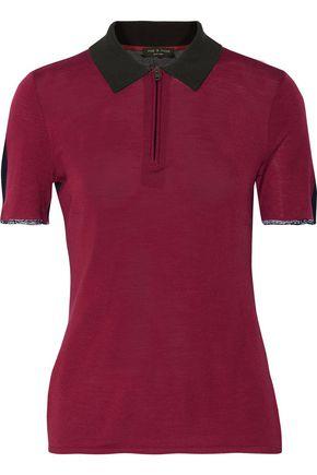 RAG & BONE Alice two-tone knitted polo shirt