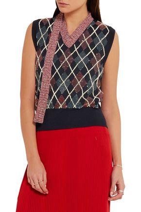MARC JACOBS Embellished wool-blend top