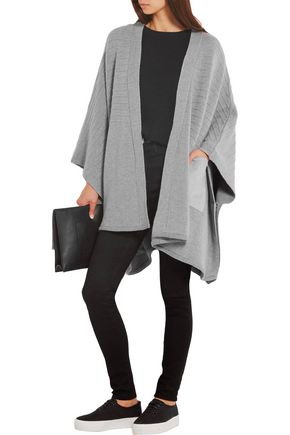 CHINTI AND PARKER Faux suede-paneled ribbed merino wool cape
