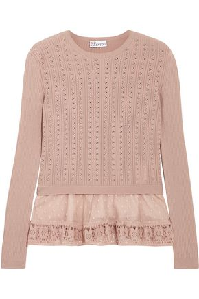 REDValentino Lace-paneled pointelle-knit cotton peplum sweater