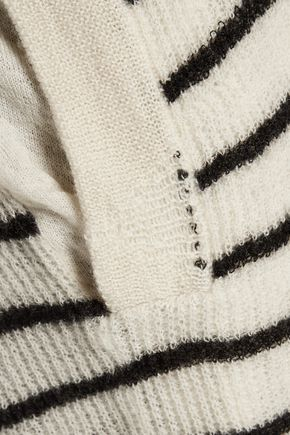RTA Serge striped open-knit cashmere cardigan