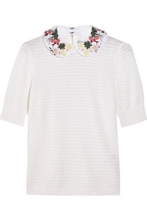 ALICE + OLIVIA Remmie embroidered crochet-knit cotton and cashmere-blend sweater