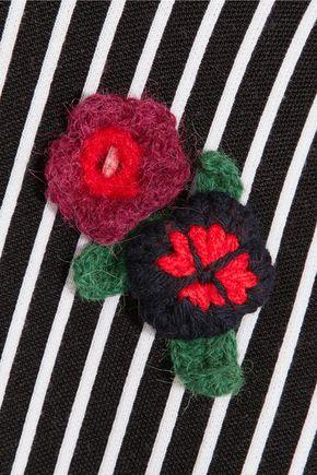 CHRISTOPHER KANE Stripes & Flowers appliquéd stretch-jersey turtleneck sweater