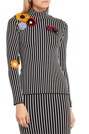 CHRISTOPHER KANE Stripes & Flowers appliquéd stretch-jersey turtleneck sweater