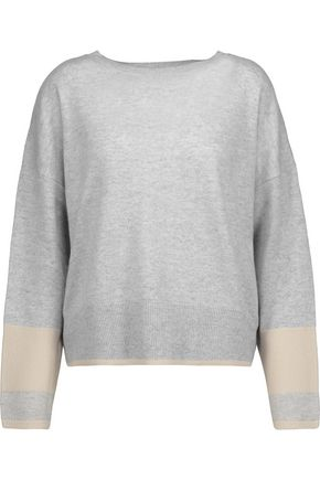 DUFFY Two-tone layered cashmere sweater