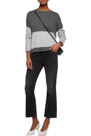 DUFFY Two-tone ribbed knit-paneled cashmere sweater