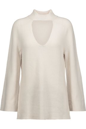 HALSTON HERITAGE Cutout wool and cashmere-blend turtleneck sweater