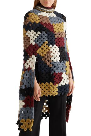 ROSETTA GETTY Crocheted alpaca-blend poncho