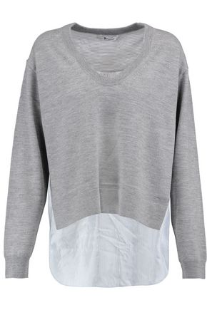 T by ALEXANDER WANG Satin-paneled wool sweater