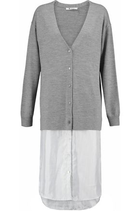 T by ALEXANDER WANG Wool and striped linen cardigan