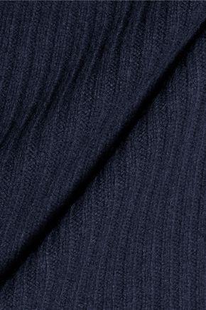 GANNI Draped ribbed merino wool-blend sweater