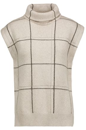 BRUNELLO CUCINELLI Bead-embellished checked cashmere turtleneck sweater