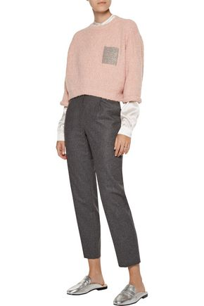 BRUNELLO CUCINELLI Cropped beaded alpaca-blend sweater