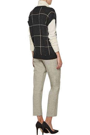 BRUNELLO CUCINELLI Sequin-embellished checked intarsia-knit cashmere and silk-blend sweater