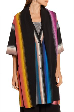 MISSONI Layered striped crochet-knit wool cardigan