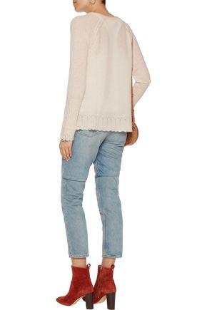 VELVET by GRAHAM & SPENCER Pointelle-trimmed cashmere sweater