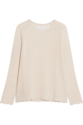 VELVET by GRAHAM SPENCER Pointelle-trimmed cashmere sweater
