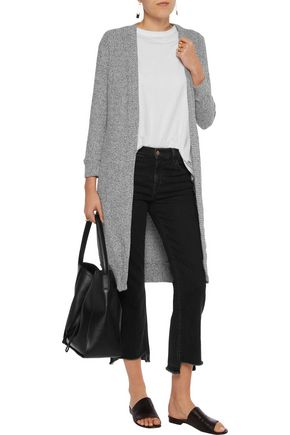 MONROW Ribbed-knit cotton-blend cardigan