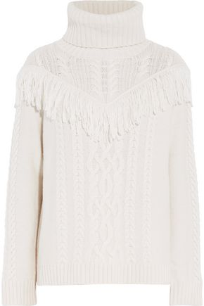 JOIE Fringed cable-knit turtleneck sweater