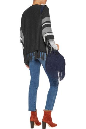VELVET by GRAHAM & SPENCER Fringed-trimmed striped cashmere cardigan