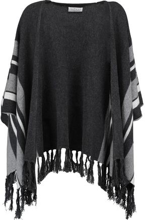 VELVET by GRAHAM SPENCER Fringed-trimmed striped cashmere cardigan