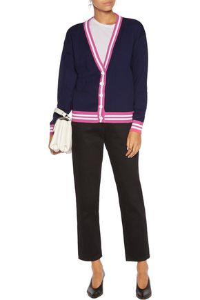 LOVE MOSCHINO Appliqued sequinned cotton-jersey cardigan