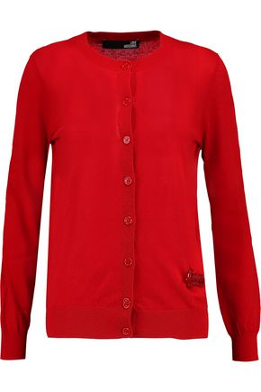 LOVE MOSCHINO Appliquéd cotton cardigan