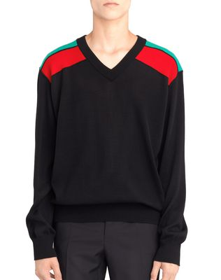 CONTRASTED SHOULDERS SWEATER