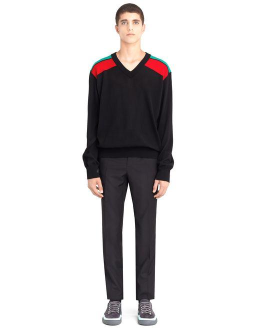 lanvin contrasted shoulders sweater men