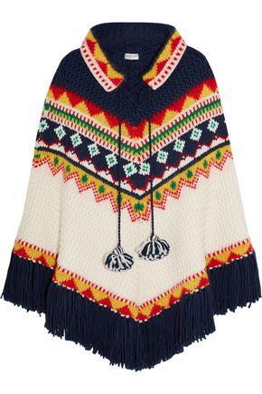 Fair Isle intarsia wool-blend poncho | SAINT LAURENT | Sale up to ...