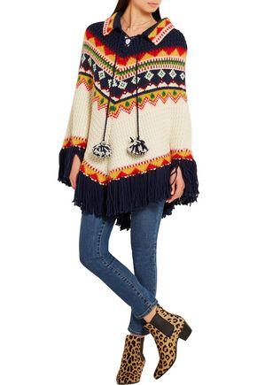 SAINT LAURENT Fair Isle intarsia wool-blend poncho