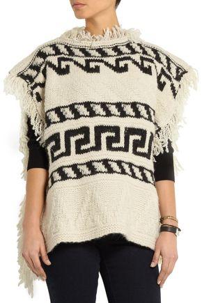 ISABEL MARANT ÉTOILE Texas fringed intarsia-knit poncho